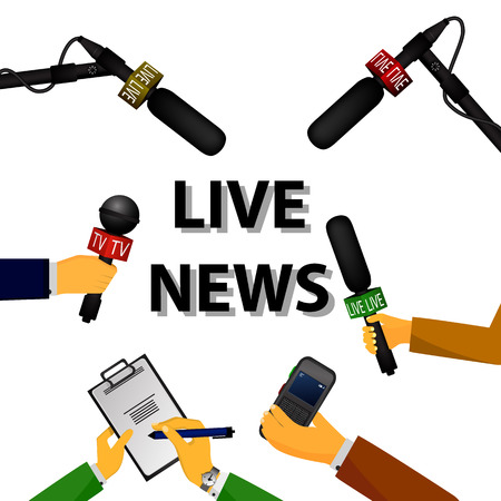 Vector illustration of a concept live news, reports, interviews, voice recorders, microphones in the hands of journalists. Live news template. Press illustration. Иллюстрация