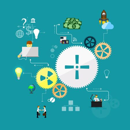 interdisciplinary: Business start infographics template. Scheme with humans, icons and gears