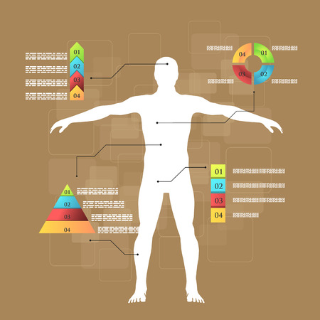 lymphatic vessels: Vector illustration of medicine infographics. Schematic description of the human body.