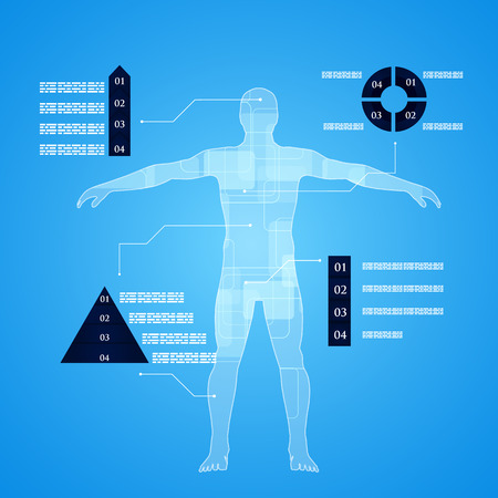 human blood circulation: Vector illustration of medicine infographics. Schematic description of the human body.