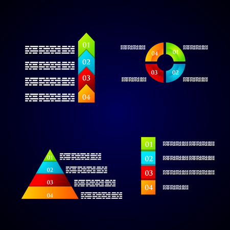 numbering: set of colored diagrams with numbering and text