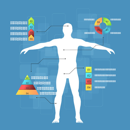 Vector illustration of medicine infographics. Schematic description of the human body. Vector