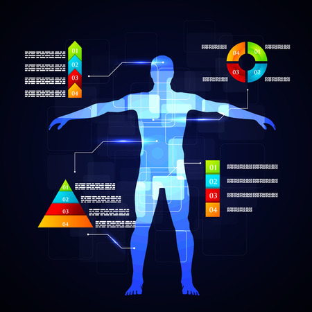 医学のインフォ グラフィックのベクター イラスト。人間の体の概略説明です。