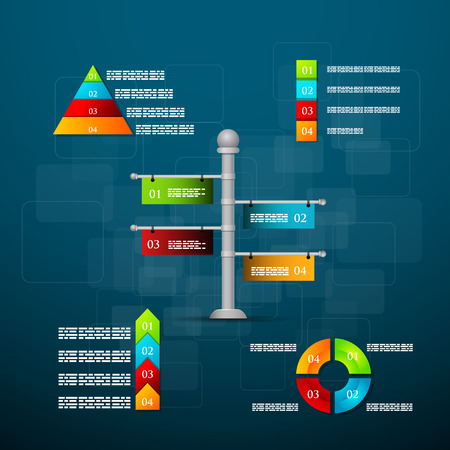 Vector illustration Timeline template with charts and text. Infographics. Illustration