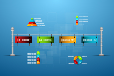 decade: Vector illustration Timeline template with charts and text. Infographics. Illustration