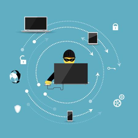 spyware: Ilustraci�n del vector del concepto de la protecci�n contra la pirater�a inform�tica.