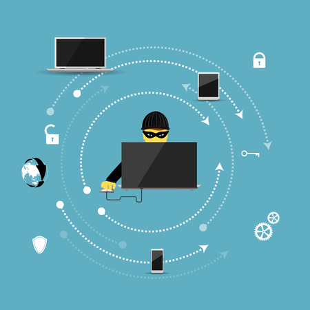Vector illustration of the concept of protection against hacking. Reklamní fotografie - 37065965