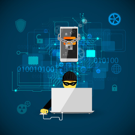 internet fraud: Vector illustration of the concept of protection against hacking.