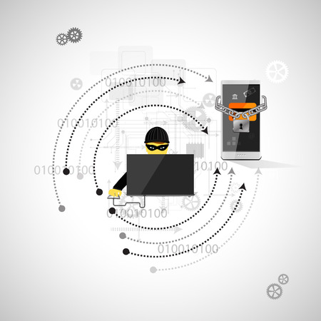 Vector illustration of the concept of protection against hacking. Фото со стока - 37065976