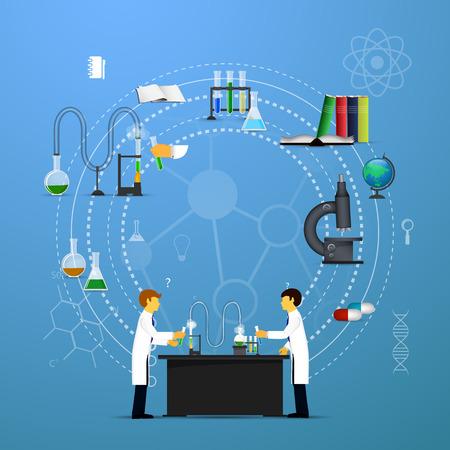 Matraces cónicos infografía Química y vasos con diferentes soluciones químicas y reacciones