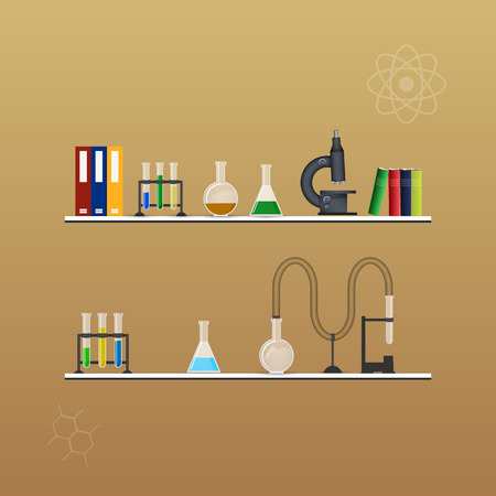 conical: Chemistry infographic conical flasks and beakers with various chemical solutions and reactions