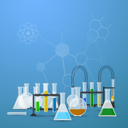 Chemistry infographic conical flasks and beakers with various chemical solutions and reactions