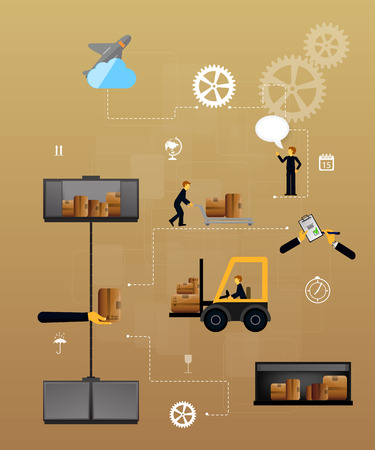 safekeeping: Vector illustration set of logistics safekeeping delivery shipping of flat icons