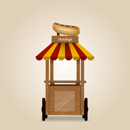 sesame street: Illustration of a hotdog stand