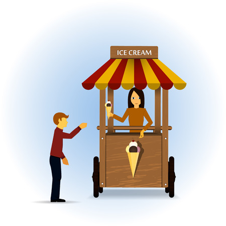 ice cream stand: Retro vector Illustration of a ice cream stand