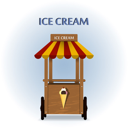 ice cream stand: Retro vector Illustration of a ice cream stand