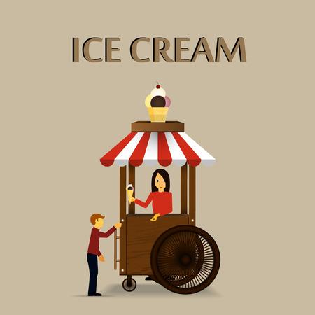 vitrine: Retro vector Illustration of a ice cream stand