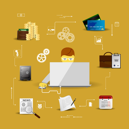 current account: Vector Illustration concepts control payment, financial analytics, online banking Illustration