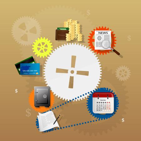 undertaking: Vector illustration of teamwork, showing the transaction, graphics, cooperation Illustration