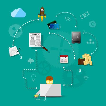 emprendimiento: Ilustraci�n vectorial de trabajo en equipo, mostrando la transacci�n, los gr�ficos, la cooperaci�n Vectores