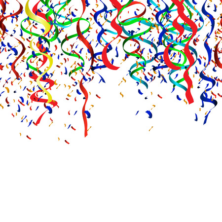 Vector Illustration of Colorful Party, confetti, ribbons Illustration