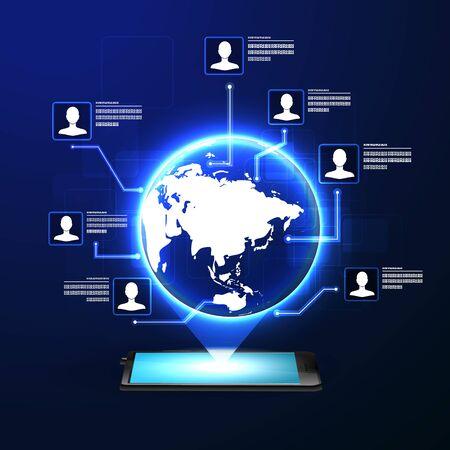 El concepto de red social de fondo con la gente y los iconos.