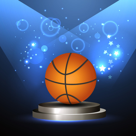 playoff: Vector illustration of a basketball on the scene, the championship
