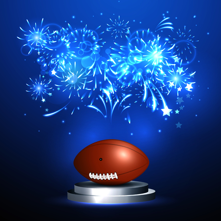 playoff: Vector illustration of american football ball on stage championship