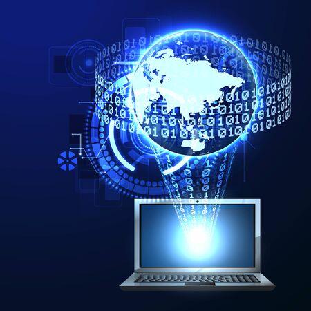burglary: Vector illustration of digital binary data protection against burglary