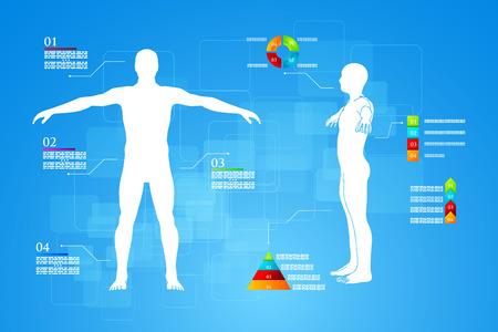 Vector illustratie van de geneeskunde infographics. Schematische beschrijving van het menselijk lichaam. Stock Illustratie