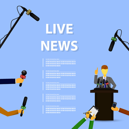 press news: Vector illustration of a concept live news, reports, interviews, voice recorders, microphones in the hands of journalists. Live news template. Press illustration. Illustration