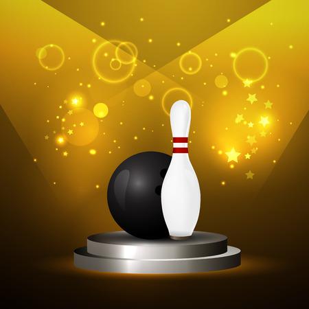 quilles: Vector illustration d'une boule de bowling se �craser et de quilles.