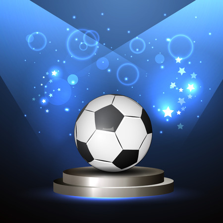 playoff: Vector illustration of a soccer ball in the center, bright lines, championship victory