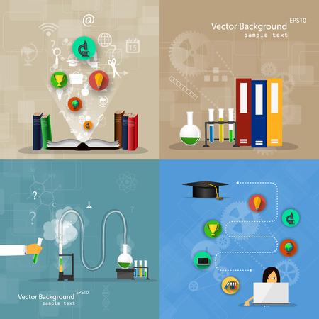 tecnolog�a informatica: Vector ilustraci�n de los conceptos de dise�o plano de la educaci�n. Un conjunto de fondos. Vectores
