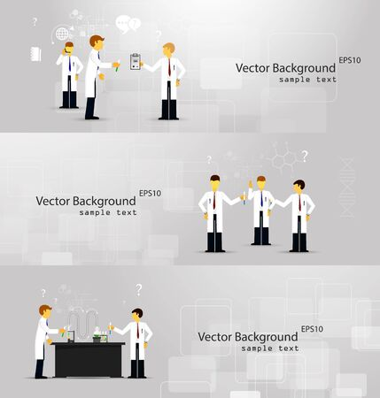 conducting: Vector illustrations of scientists in laboratories conducting research