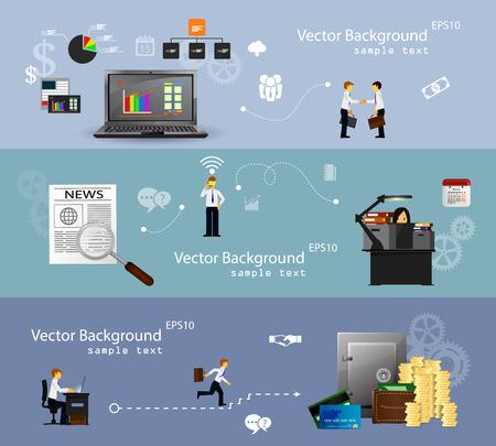 demonstrative: Vector illustration of teamwork, set banner