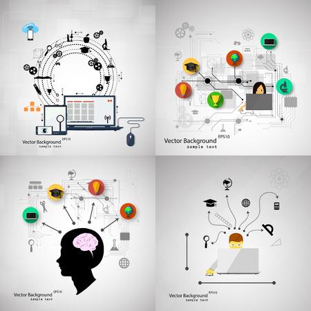 技術: 矢量插圖教育扁平化設計理念。一組背景。