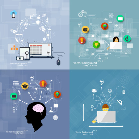 Vector illustration flat design concepts of education. A set of backgrounds.