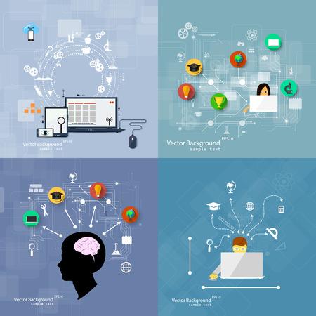 Vector ilustración de los conceptos de diseño plano de la educación. Un conjunto de fondos. Foto de archivo - 38291427