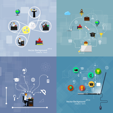 technology: Vector illustration flat design concepts of education. A set of backgrounds.