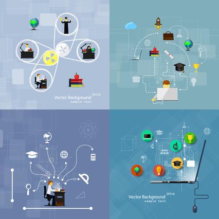 tecnología informatica: Vector ilustración de los conceptos de diseño plano de la educación. Un conjunto de fondos. Vectores