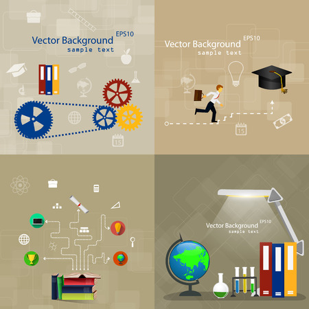 internet education: Vector illustration flat design concepts of education. A set of backgrounds.