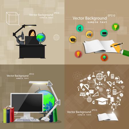 ベクトル図フラット デザイン教育観背景のセット。