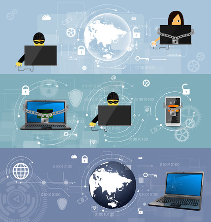 Vector illustratie set van banners, het concept van de strijd tegen virussen en aanvallen. Stock Illustratie