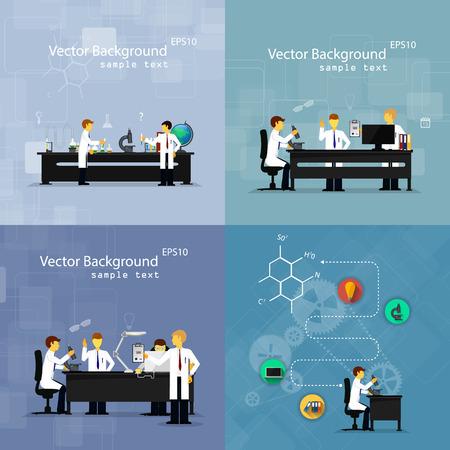 investigador cientifico: Ilustraciones del vector de los cient�ficos en los laboratorios que realizan investigaci�n