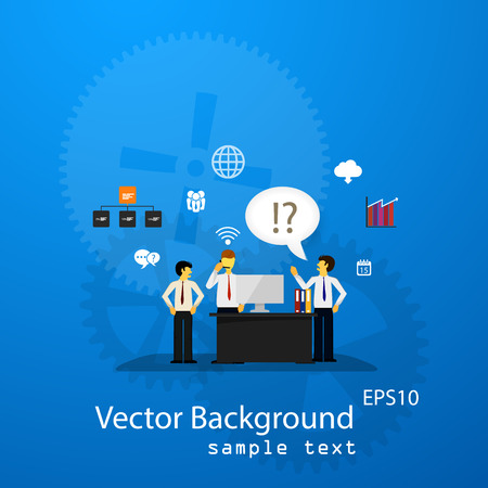 background isolated: illustration of teamwork, business template with flat icons.