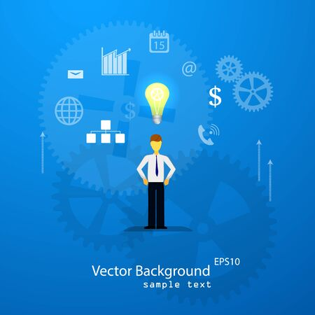 Vector illustration of teamwork, business template with flat icons.