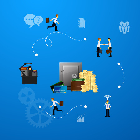 demonstrative: illustration of teamwork, business template with flat icons.