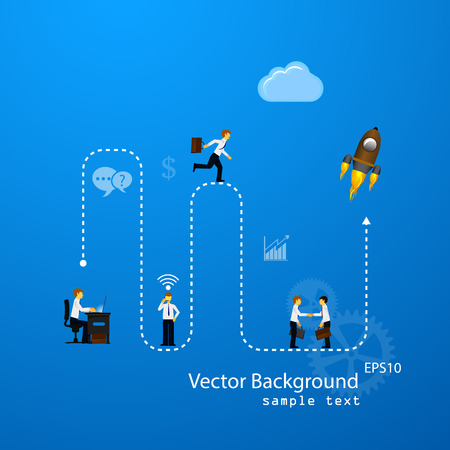 demonstrative: Vector illustration of teamwork, business template with flat icons.