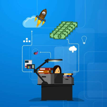 illustration of teamwork, business template with flat icons.
